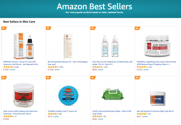 Amazon skincare bestsellers list