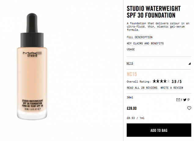 Water weight foundation mac