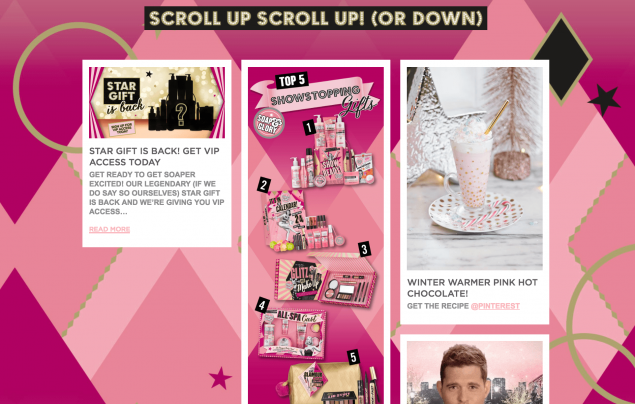 A section of soap and glory's christmas website for content