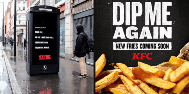 KFC 'dip me again' ad for their new chips formula