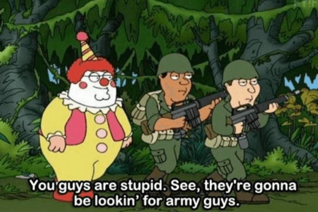 Peter Griffin dressed as a clown, with some army guys