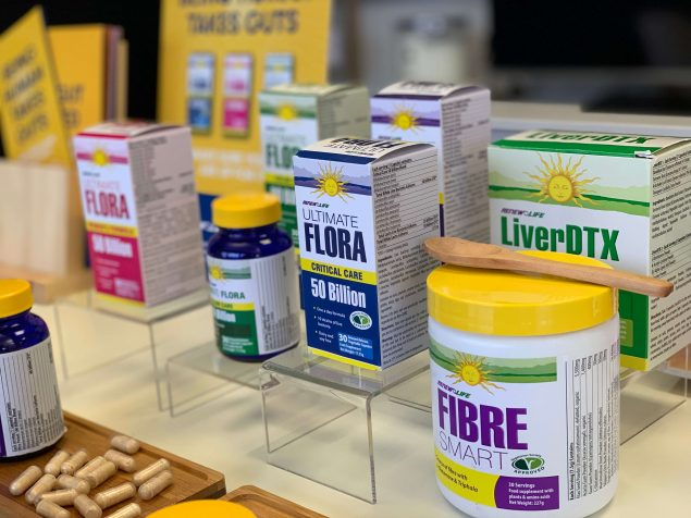 A selection of renew life supplement products on a table