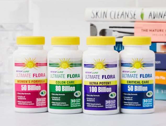 A selection of probiotic supplement products by Renew Life